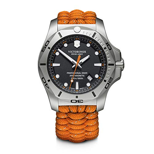 Victorinox I.N.O.X. Analog Quartz Watch with Titanium Strap, Orange, 22 (Model: 241845)