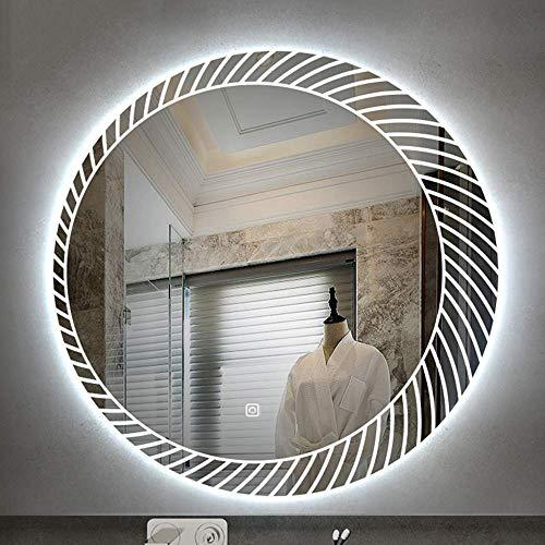 WMDHH Badkamer spiegel Ronde LED verlicht met touch control schakelaar, aluminium verlichting make-up scheren spiegel, IP54 waterdichte intelligente multifunctionele spiegel