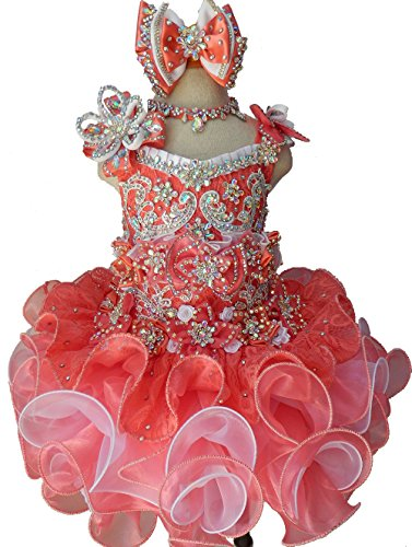 Jenniferwu Infant Toddler Baby Newborn Little Girl's Pageant Party Birthday Dress G016 Peach Size 4T