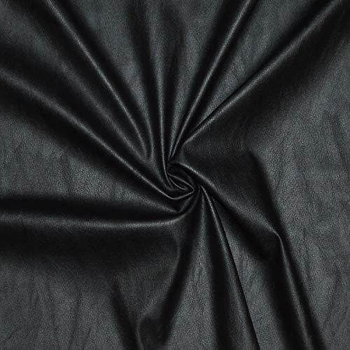 Tissu simili cuir de très belle qualité, souple et stretch - Réaliser toutes vos idées créatives (Habillement ou déco) - Tissu faux cuir - tissu skai (Coupon de 1m x 1m36) (NOIR)