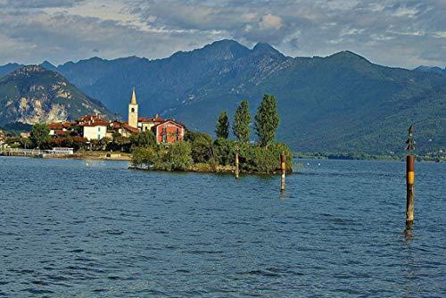 Wall Art Print on Canvas(32x21 inches)- Lake Maggiore Landscape Island
