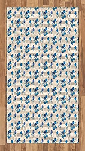 ABAKUHAUS Botanique Tapis Tissé à Plat, Fruit Montagne Blueberry, Salle de Séjour Chambre à Coucher Salle à Manger, 80 x 150 cm, Beige Bleu Cobalt Plum