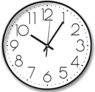 Modern Wall Clock, Cookadvan 8in Round Silent Non-Ticking Clock, Battery Operated Quartz with Large Arabic Numeral and HD ...