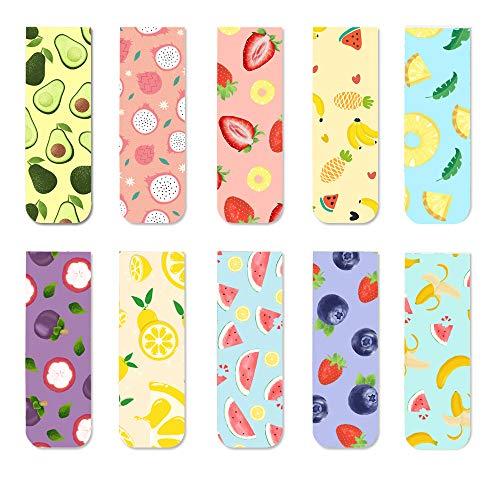 Flower Colorful Bookmarks Magnetic Bookmarks for Kids Boys Girls Men Women Students Children,10Pcs (Fruits)