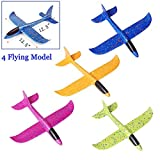 Inchoispace Gliders Foam Airplane Toy for Boys Girls Toddlers, 4PCS Manual Throwing Model Flying Plane Aircraft Gift for Outdoor Sports Garden Yard Playing