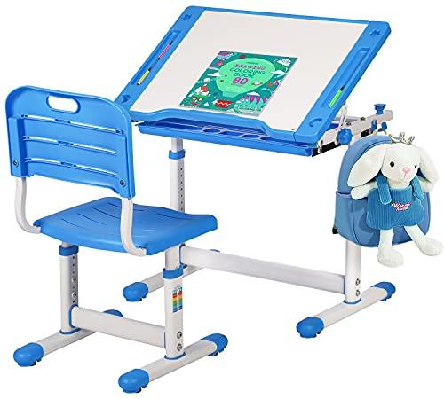 FDW Children Desk Kids Desk and Chair Set, Height Adjustable Student Study Desk for Home Schooling with Storage Drawer,180°Bookshelf, 55°Tilted Desktop Metal Hook,Blue