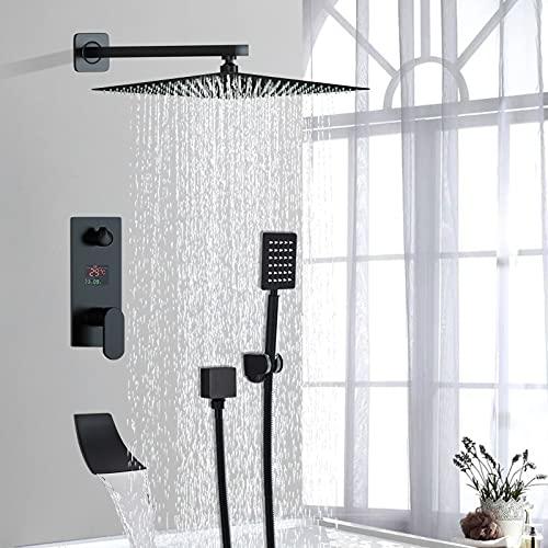 Conjunto de ducha negro con columna de ducha empotrable con tecnología de inyección de aire avanzada con cabezal de ducha cuadrado, 20 cm, ducha mezclador de bañera con cascada, instalación en pared