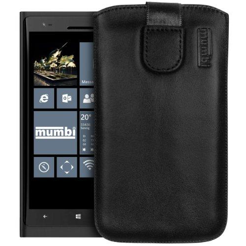mumbi Echt Ledertasche kompatibel mit Nokia Lumia 1520 Hülle Leder Tasche Hülle Wallet, schwarz