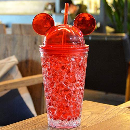 Zhangl Termos y Copas Botella de Bebida AS-Made a Prueba de Fugas de 450 ml, con una Linda Gorra con Tapa y Paja para el día de Verano Termos y Copas (Color : Red)
