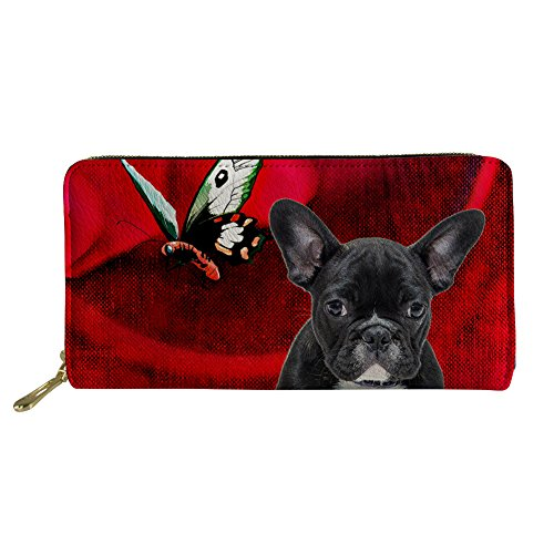 FOR U DESIGNS Pu Leather Purses for Women Shopping Zippered Wallet French Bulldog Pattern