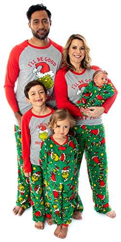 Dr. Seuss The Grinch Who Stole Juego de pijama familiar a juego para hombres, mujeres, niños, niños y niños pequeños, Be Good Next Year - Infant/Toddler, 18-24 Meses