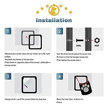 Namsan Chatiere pour Chien Chatieres pour Chat Facile à Installer Verrouillable Porte pour Animaux de Compagnie (29cm x 24cm)