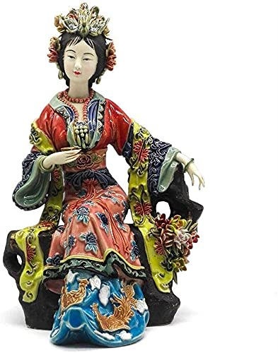 Ornamento Casual Adorno Estatua Femenina Escultura Cerámica Coleccionable para El Hogar Craft Office Sala Estar Cabineta Vino Estudio Escritorio 17x14x27cm HAODAMAI