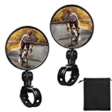 2 Pieces Bike Mirror Cycling Rear Mirror Adjustable 360 Degree Rotatable Rearview Bicycle Mirrors Shockproof Wide Angle Acrylic Convex Safety Mirror for Most Mountain Road Bike