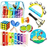 Kids Musical Percussion Instruments Set Wooden Musical Toys For Toddlers Babies Rhythm Instruments 1 2 3 4 5 6 Years Old Children Educational Music Gift
