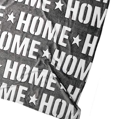 hibuy Kuscheldecke/Fleecedecke Home (Sweet Home) - mit 3D Effekt - weiß, grau - 160 x 130 cm