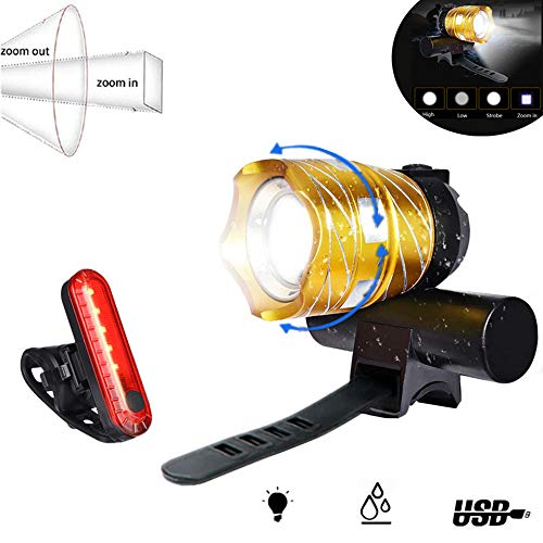 LED Bike Light USB Rechargeable Abcty 1200 Lumens Bicycle Headlight Set Free Bike Taillight Easy to Install and Fits All Mountain Road Bicycles Waterproof Adjustable Focal Length CyclingGold