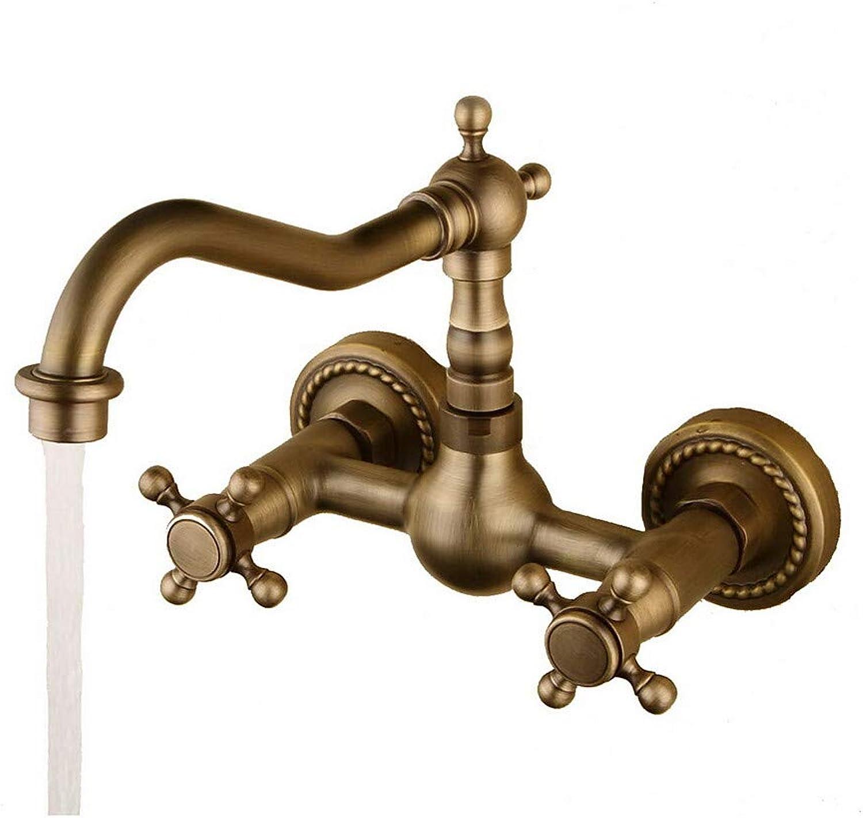 Novopus Wasserhahn:Waschbecken Wasserhahn - drehbar Antike Bronze Wandmontage Zwei Lcher Zwei Griffe Zwei Lcher,1