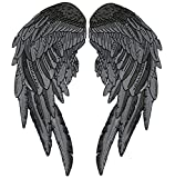 Angel Wings Patch | Embroidered Feather Patches | XLarge Festival Men Adult Lady Rider Black Dark Grey | 2pc. Set - by Nixon Thread Co. (14.5')
