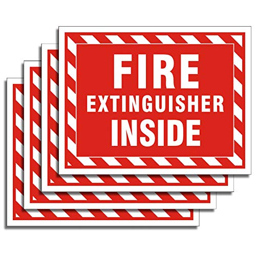 "Uflashmi Fire Extinguisher Inside Sticker, Fire Extinguisher Sign, 4 Pack, 5"" x 4"""
