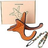 ウクレレスタンド + ウクレレストラップ X型 木製 折り畳み式 楽器スタンドホルダーサポーター ウクレレ/マンドリン/ヴァイオリン用