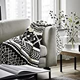 Cotton Knitted Throw Blankets Cozy Warm Soft Black and Cream 50'X70'for Sofa Chair Couch Decorative Throw Bed Blankets All Season