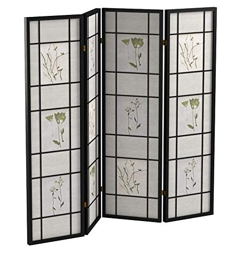 Coaster-Home-Furnishings-CO-4407-4-Panel-Folding-Screen-with-Floral-Motif-Multicolor