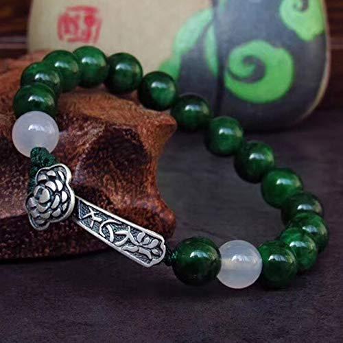 Natural Jade S925 Pure Silver Ruyi Charm Transporte Buda Beads Pulsera Feng Shui Lucky Charms Regalos Chinos Para La Curación Atraer Dinero Para Una Buena Fortuna Valorosa Riqueza Praiga Prosperidad