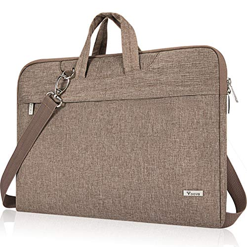 Voova Laptop Bag 14-15.6 Inch, Waterproof Laptop Case Sleeve with Shoulder Starp, Computer Briefcase Cover Compatible with MacBook Pro 16, Dell XPS 15, Acer Asus Hp Chormebook-Khaki