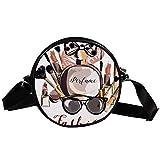 Bandolera redonda pequeña bolsa de mano para mujer, bolso de hombro, bolso de lona para la cintura, accesorios para mujeres, cosméticos, perfumes, pintalabios, pintalabios