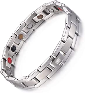Titanium Magnetic Therapy Bracelet Germanium 5 Elements in 1 for Promote Blood Circulation Arthritis Pain Relief