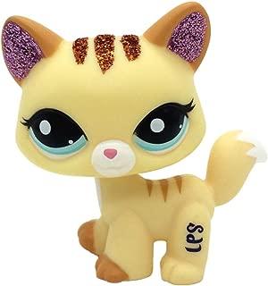 jjlin Mini Pet Shop Yellow Sparkle Glitter Cat Kitty LPS Toy #2255