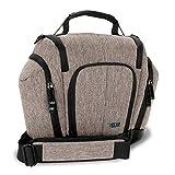 USA Gear Kompakte Kameratasche für Spiegelreflexkameras (DSLR Sling Bag) mit wetterfestem Boden, Braun