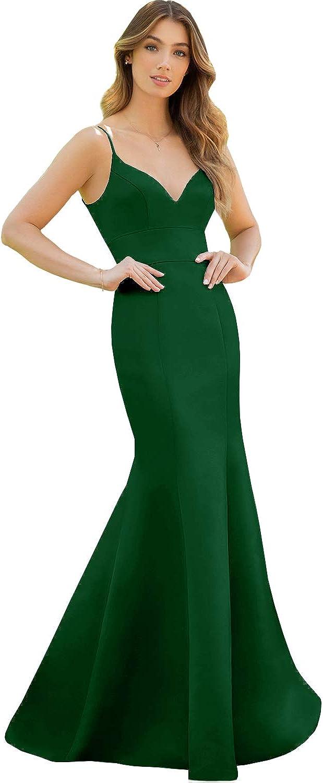 YGSY Women's Mermaid Straps Satin Bridesmaid Dress Long Prom Evening Party Dress