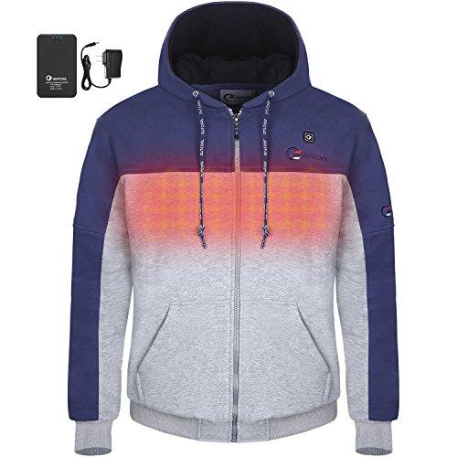 OUTCOOL Men's Heated Hoodie Full-Zip Hooded Fleece Sweatshirt (2XL) (Type: 17NWY05)