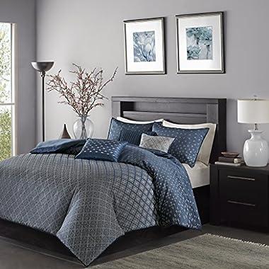 Madison Park Biloxi Duvet Cover King/Cal King Size - Navy, Geometric Duvet Cover Set – 6 Piece – Ultra Soft Microfiber Light Weight Bed Comforter Covers
