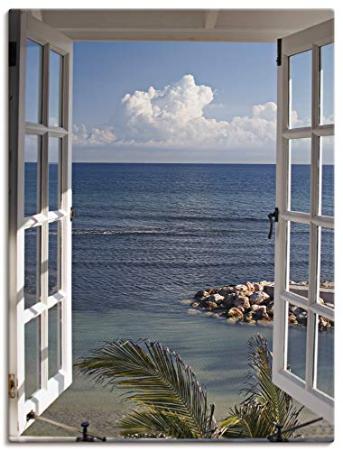Artland Leinwandbild Wandbild Bild auf Leinwand 45x60 cm Wanddeko Fensterblick Fenster zum Paradies Strand Meer Maritim Palmen Landschaft T9II