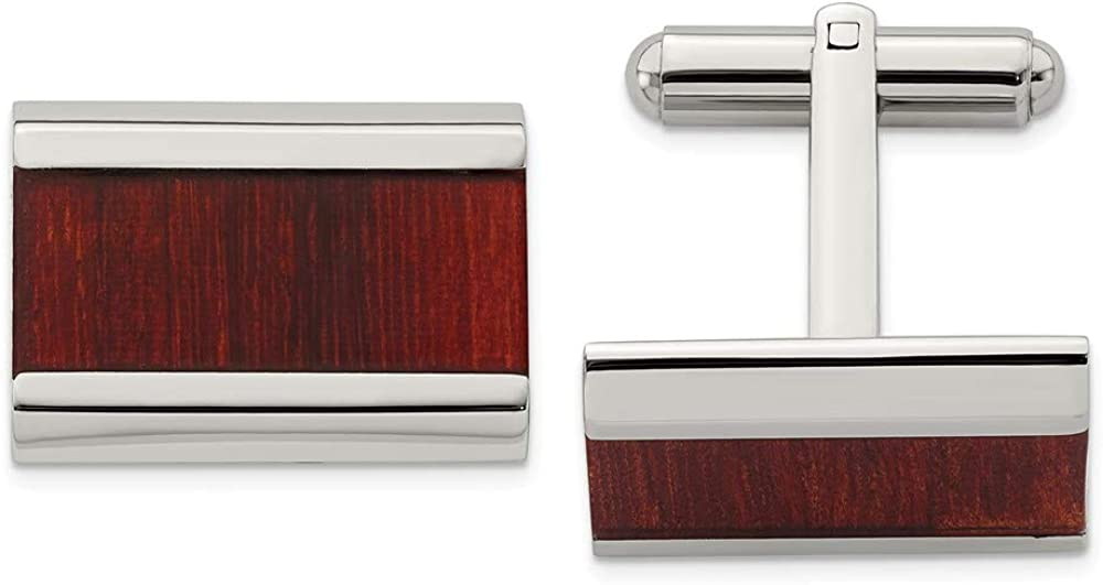 Solid Stainless Steel Men's Red Wood Inlay Cufflinks