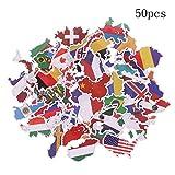 Stickers de país Mundo Banderas del Mundo País Pegatinas Pegatinas de Muchos países Pegatinas de Doodle Pegatinas Corporales Creativas Vinilo Decorativo Guitarra Monopatín Maleta (50 hojas)