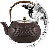 Teteras / Café Tetera de tetera de hierro fundido grande de 1800 ml con pared interior oxidada sin recubrimiento para té de hoja suelto y bolsitas de té, Tetesbin Tea Kettle Stefetop Caja fuerte Teter