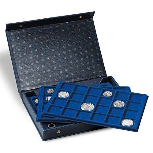 Leuchtturm 330921 Münzkassette TABLO L 6 | Für 128 Münzen bis 44 mm Ø z.B. 33 mm, 45 mm | Inkl. 4 Tableaus | Format: 355 x 50 x 250 mm