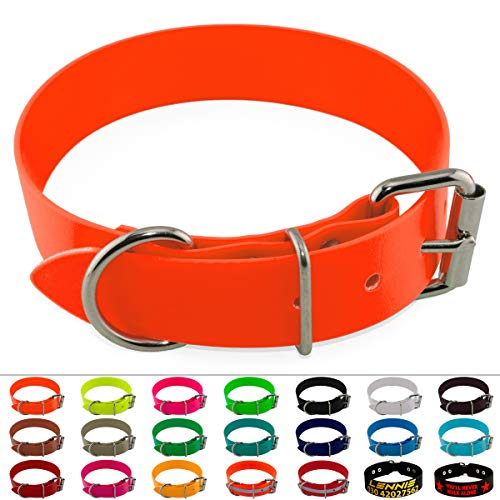 LENNIE BioThane Halsband, Edelstahl-Rollschnalle, 38 mm breit, Größe 38-48 cm, Neon-Orange, Aufdruck möglich
