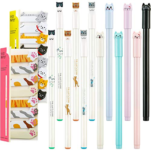 12 Pieces Cute Cat Pens Cats Design Gel Ink Pens Kawaii Writing Pen and 320 Pieces Cute Cat Sticky Notes Page Bookmarks Flags Tab for Cat Lovers Kids Stationery School Office Supplies