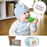 MyOma DIY Bärchen Mütze Teddy für Kinder Stricken - DIY Strickset Babymütze Teddy für Babys 3-12 Monate - Strickpaket für Babys mit Merino Baby in der Farbe hellblau inkl. Strickanleitung