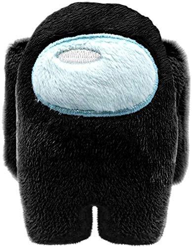 MORANGO Peluches Among Us, Plush Crewmate Among Us Matanza de Hombre Lobo Espacial, muñeco de Personaje del Juego - 10 cm (Negro)