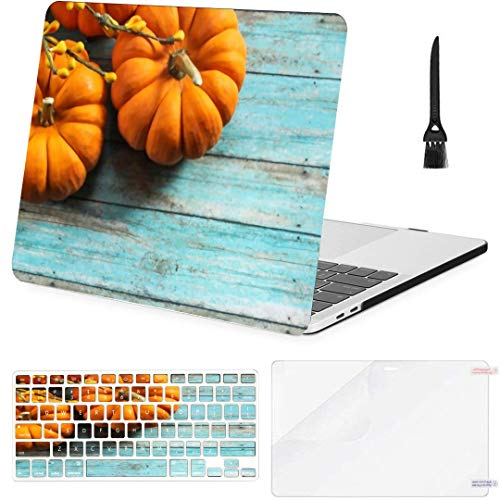 MacBook Air 13 Inch Case Fall Background Mini Pumpkins Autumn On MacBook Air11 Case MacBook Pro13 Pro15 Plastic Case Keyboard Cover,Screen Protector,Keyboard Cleaning Brush