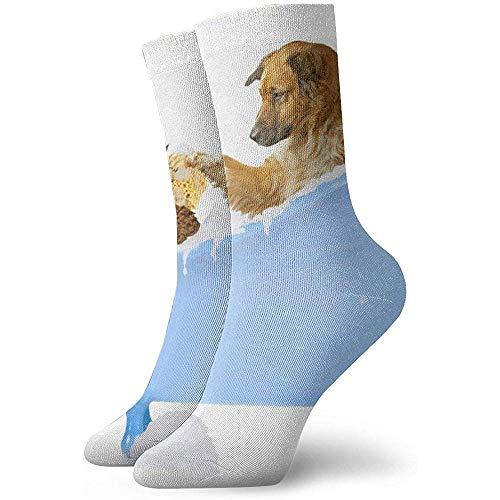 Grappige kat en hond onder de douche sokken casual gezellige Crew sokken voor mannen, vrouwen, kinderen
