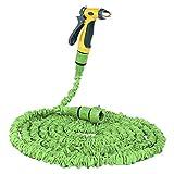Dough.Q 15m Gartenschlauch Flexibler Wasserschlauch Flexible dehnbarer Flexischlauch Multisfunktionsbrause mit 7 Funktionen, Adapter inkulsive, Grün