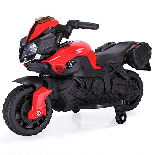 JAXPETY Kids Ride On Motorcycle 6V Toy Battery Powered Electric 4 Wheel Power Bicyle New (Red)