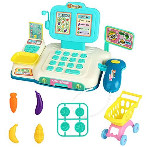 Jouet de caisse enregistreuse, CestMall Kids Caisse enregistreuse électronique avec scanner, balance, pièces de monnaie, nourriture et panier Shopping Faire semblant de jouer à la caisse enregistreuse
